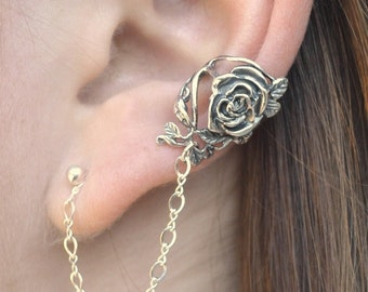 Rose Ear Cuff with Chain to Post - SINGLE SIDE