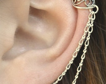 Filigree Ear Cuff to Double Chain to Post