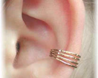 Four Wire Shimmering Ear Cuff - 14K Gold Filled - Sterling Silver - SINGLE SIDE