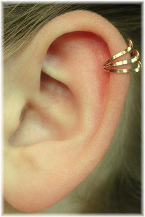 Pierced Ear Cuff - Triple with Twist - Gold Filled or Sterling Silver - SINGLE SIDE