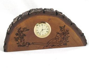 Wood Desk Clock - Deer & Squirrel - Bradford Pear with Natural Bark Edge