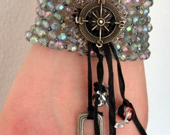 Hippy Hippie- Stretch Bracelet- Iridescent- Festival Wear- Beads- Wrist- Jewelry- Accessories- Fashion- Gifts Under 20