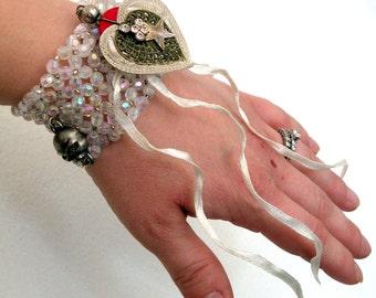 Stretch Bracelet- Dangle- Skulls Heart  Iridescent- Beads- Wrist- Jewelry