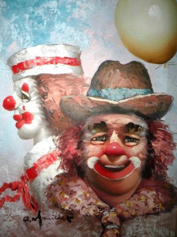 Sale Vintage Collectible W. Moninet's Clowns Oil Painting