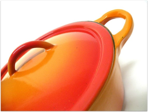 SALE Vintage French LE CREUSET Volcanic Orange Cast Iron