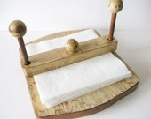 Farmhouse chic Napkin Holder wooden upcycled distressed crackled time worn look