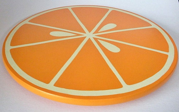 Luscious citrus orange slice hand painted Lazy Susan
