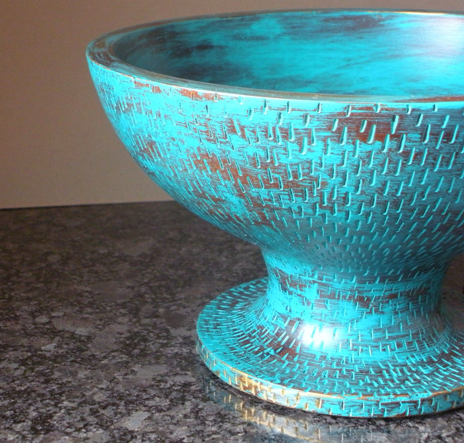 Decorative wooden bowl turquoise unique distressed upcycled