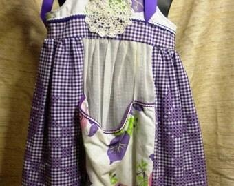 Vintage Linen Purple Themed Apron Dress Size 14 to 22 Months