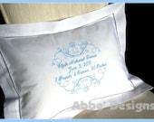 Birth Announcement Pillow- Christening pillow - Baptism Pillow - Anniversary Monogrammed  FANCY FRAME  Pillow - Baby Infant Gift