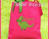 Monogrammed  DINOSAUR Tote Bag -Dino Personalized Tote bag - Open Top - Abbe' Designs - Choose Your Bag Color
