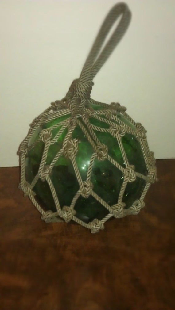 Vintage Green Glass Fishing Float with Netting