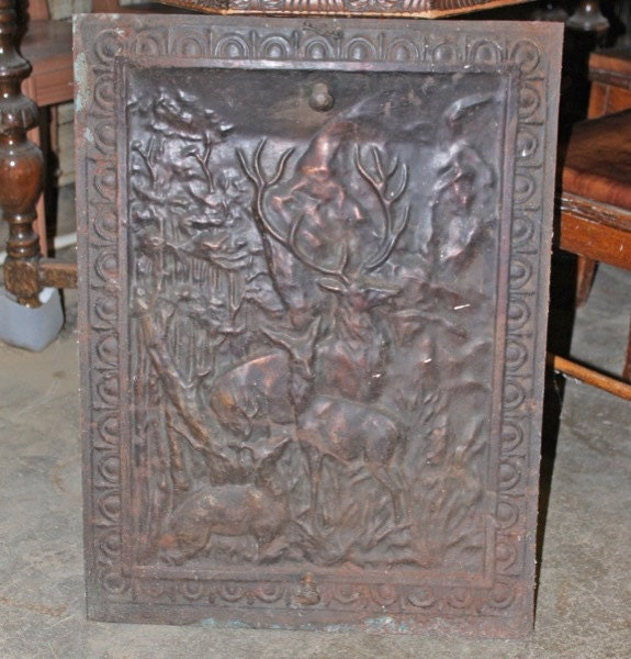 Vintage Antique Tin Fireplace Cover
