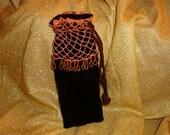Beaded Crochet Velvet Bag