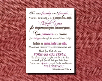 Custom Designed Wedding Day Thank You Card, Sign, or Poster Print Ready DIY