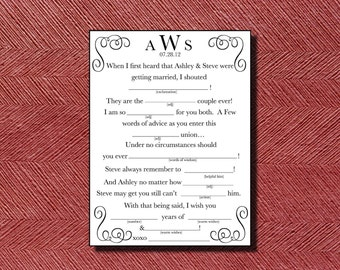 Wedding Mad Libs A Unique Guest Book Alternative