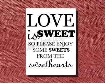 Wedding Candy Bar Sign or Poster DIY Print-Ready