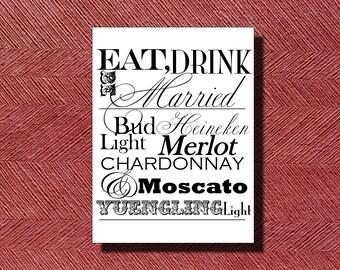 Wedding Reception Bar Menu Sign DIY