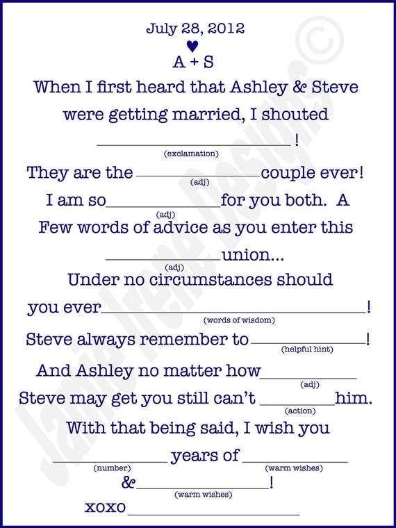 It is a photo of Insane Funny Wedding Mad Libs Printable