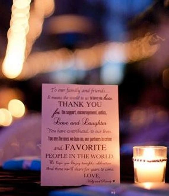 Custom Designed Wedding Day Thank You Note for your Wedding Guests