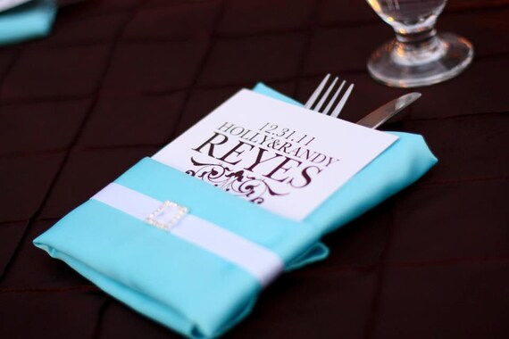 Chic Wedding Reception Monogramed Napkin Card