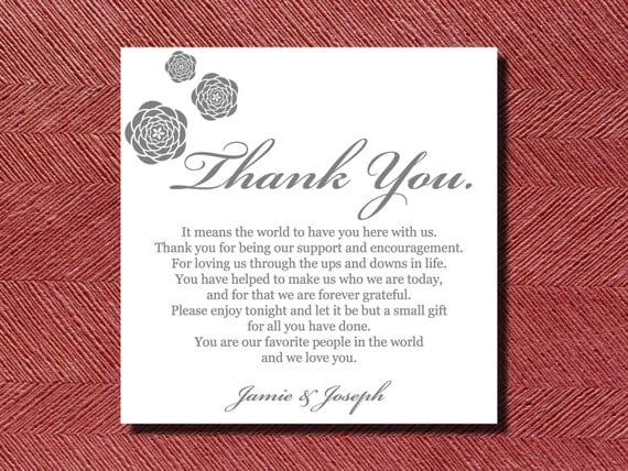 Wedding Reception Thank You Place Setting Card by