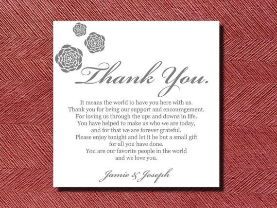 Thank You Wording For Wedding Gift: Wedding Reception Thank You Place Setting Card