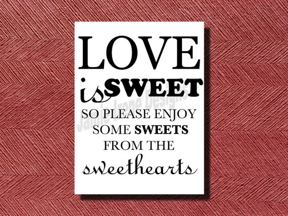 Wedding Candy Bar Sign or Poster DIY Print-Ready