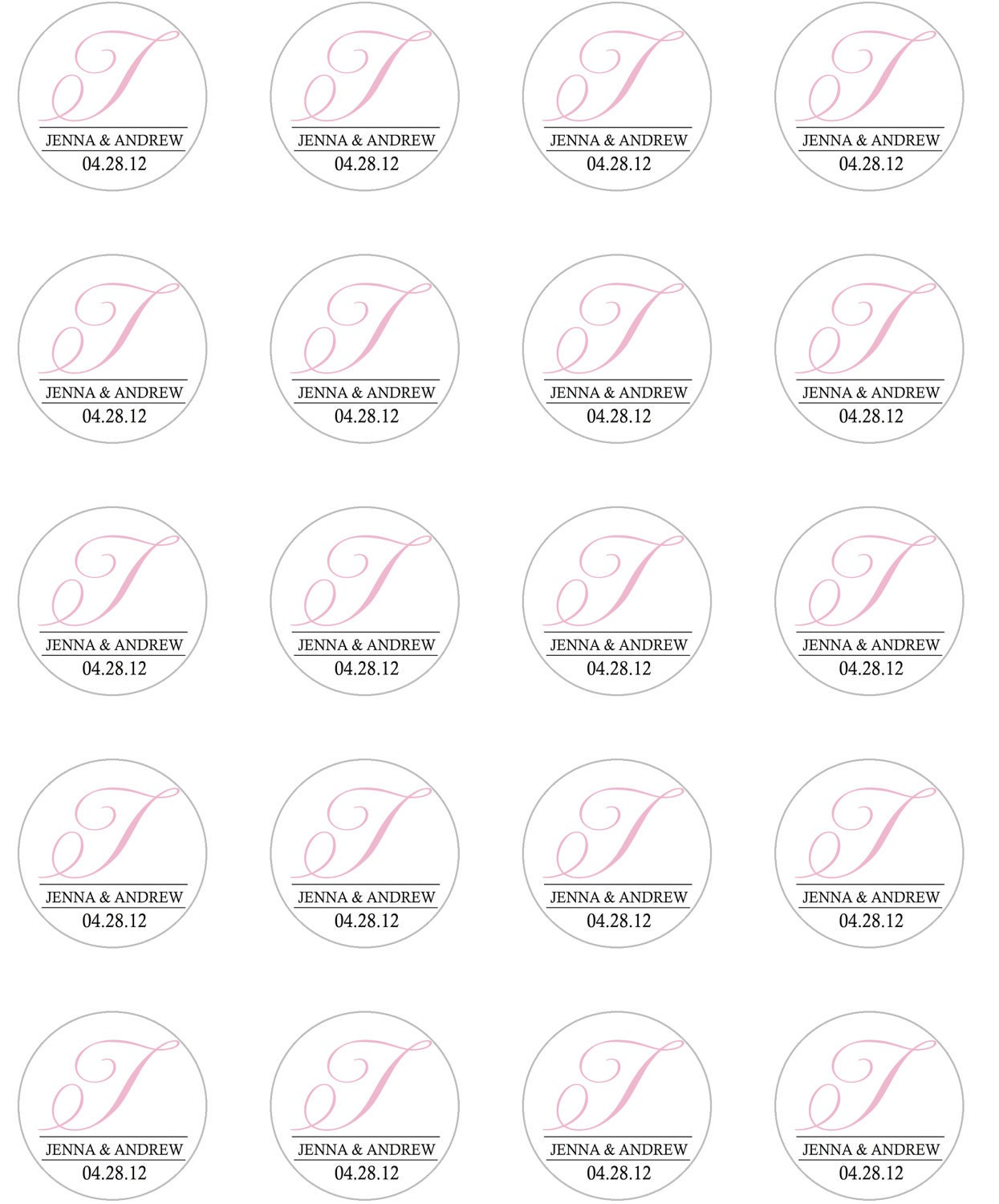 Wedding Favor 1.5 inch Round Favor Sticker Template DIY Print