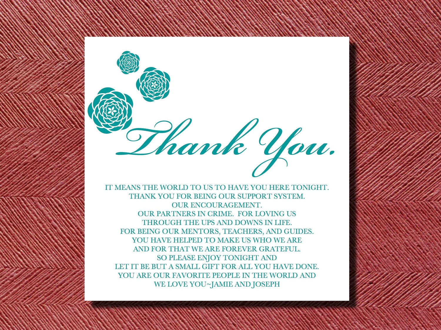 Thank You For Wedding Gift Of Money : Wedding Thank You Place Setting Card DIY