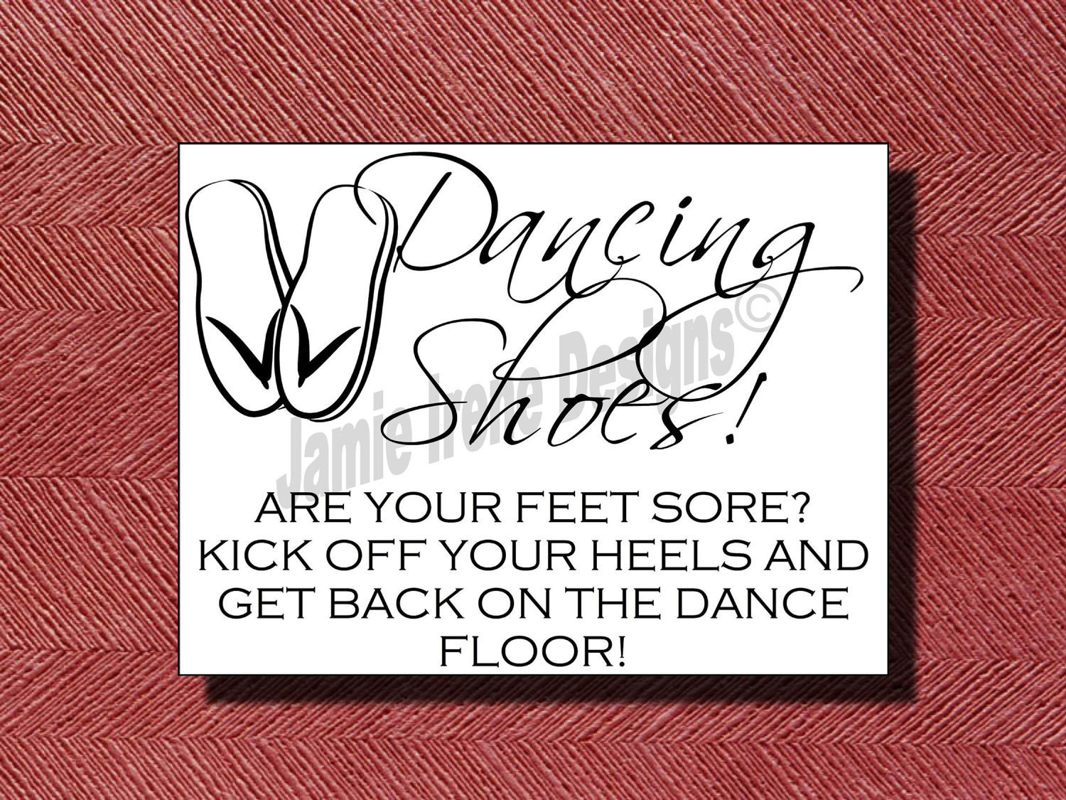Wedding Dancing Shoes Sign Template