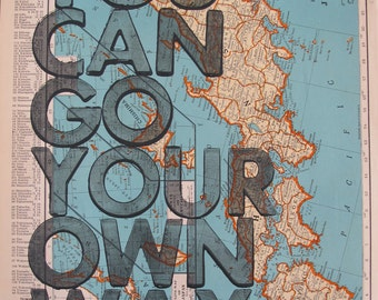 Japan / You Can Go Your Own Way/ Letterpress Print on Antique Atlas Page