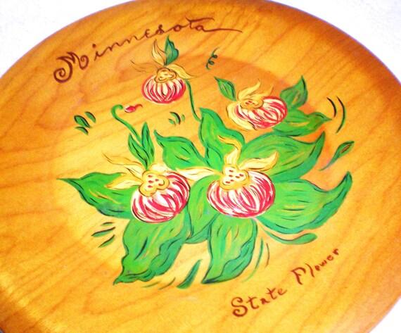 Vintage Minnesota Wood Plate - Floral Folk Art