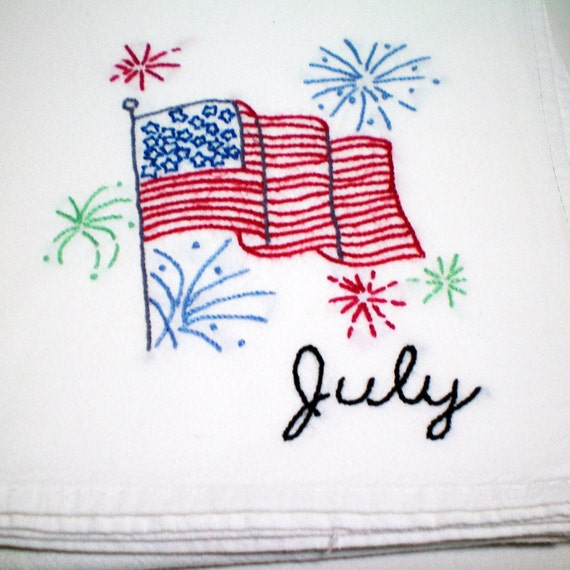 July 4th Stars and Stripes - Hand Embroidered - Dish Towel