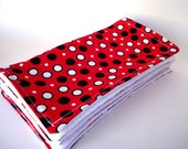 For Jacqui Red with Black and White Dots Reusable Wipes