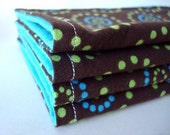 For Jacqui Brown Teal and Lime Green Reusable Wipes