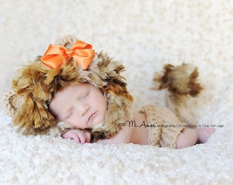 Circle of life baby lion bonnet hat with adjustable chin strap diaper cover tail and removable bow- Newborn size