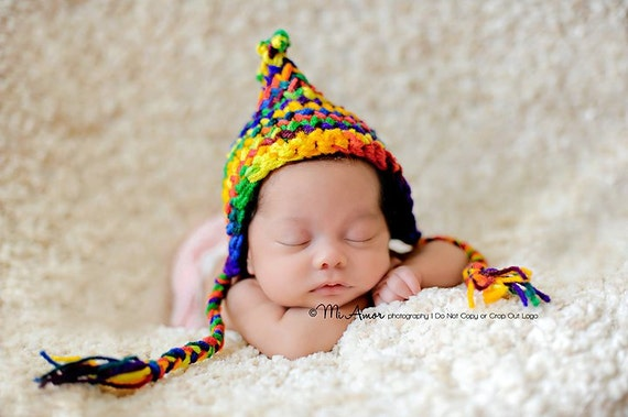 Multicolored Pixie/gnome bonnet hat with side tassels for Newborn great photography prop