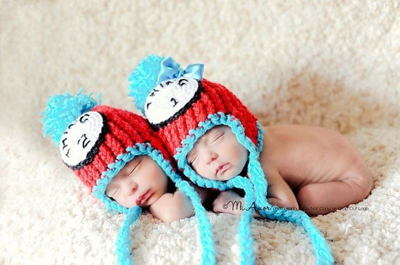 Then, out of the box came Thing 1 and Thing 2, Dr. Suess inspired pom pom beanie with earflaps and braided tassels- Newborn Twins