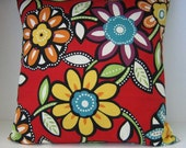 "Decorative Throw Pillow Cover Indoor/Outdoor 20""x20"" Big Happy Blossoms in Multi Color/Red"