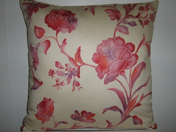 Decorative Pillow Cover Red Coral Lilac Floral Vines on Creamy White Paula Cie Cotton 20x20
