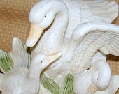 Vintage Mother Swan with 2 Cygnets Figurine.  Porcelain.  Homco/Home Interiors