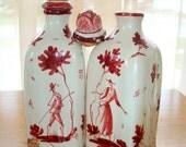 Cruet Bottles Italian Made May be Cantagalli Ceramic with Don Quixote Motif