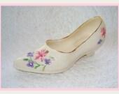 Vintage Porcelain Shoe. Collectible. Miniature. Cre Irish Porcelain