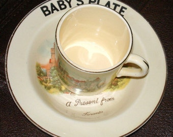 Antique Toronto Souvenir Child Cup & Bowl Set Produced by Bovey Pottery England Toronto's  Casa Loma Castle Depicted PRICE REDUCTION