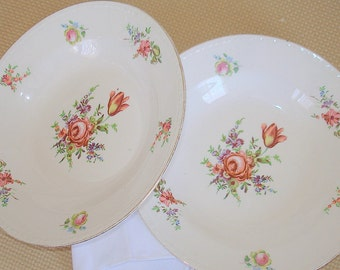 Two Antique Soup Bowls. Homer Laughlin China. Eggshell Georgian Pattern and Shape