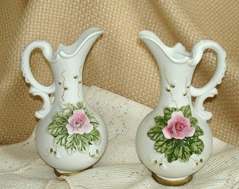 Lefton Bisque Vases or KnickKnacks Vintage Matching Pair Small in Size Porcelain with Applied Flowers Set of Two Facing Opposite Directions