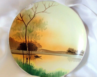 Nippon Plate Vintage Porcelain Hand Painted with Sunrise or Sunset Scene Wall Decor Wall Hanging