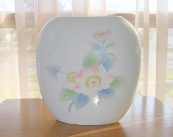 "Vintage Otagiri Pillow Vase, ""Peony"" Pattern, Porcelain, Oval, Soft Pastel Flowers, Made in Japan"