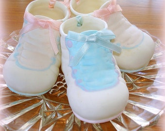 Baby Shoes Figurines Vintage Porcelian Collectible  Arts and Crafts Supply Cake Decoration Yr Choice, Pink or Blue Listed Price is per Unit
